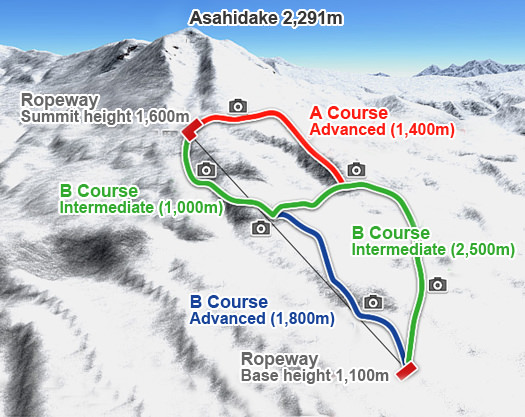 Hokkaido Asahidake Map