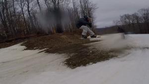 McGrane mobbin over the mud.